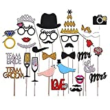 31pcs Bling Photo Booth Props Panel Hen Party Accessories Wedding Baby Birthday Anniversary Newborn Shower Decor Mask