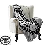"""RenteriaDecor Toga Party,Custom Picture Blankets Hellenic Column and Laurel Wreath Heraldic Symbol with Olive Branch Graphic 50""""x30"""" Children Blanket Black White"""