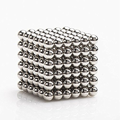 Design Bali Bead - LiKee Upgraded 5MM 216 Pieces Magnets Sculpture Building Blocks Toys for Intelligence Learning -Office Toy & Stress Relief for Adults (Shiny Silver)