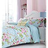 SUPERB COTTON FULL PINK BLUE ROSE FLORAL REVERSIBLE SHABBY CHIC COMFORTER COVER SET