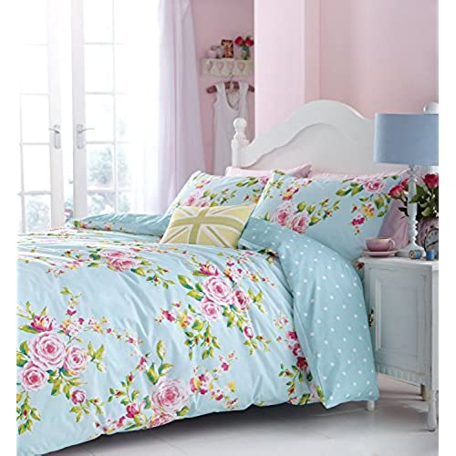 SUPERB COTTON TWIN PINK BLUE ROSE FLORAL REVERSIBLE SHABBY CHIC COMFORTER COVER SET