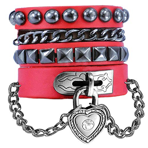 Y-blue Multilayer Bracelet Fashion Punk Leather Woven Braided Cross Bangle Wrist Cuff Wristband (Red - Love Heart)