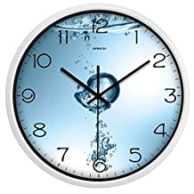 Airinou Water Drop Non-ticking Wall Clock for Bathroom Restroom Save water Metal Frame Not Plastic(10inch, White)