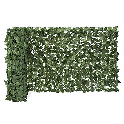 Leaf Wall Face - Best Choice Products 94x39in Artificial Faux Ivy Hedge Privacy Fence Wall Screen, Leaf and Vine Decoration for Outdoor Decor, Garden, Yard - Green