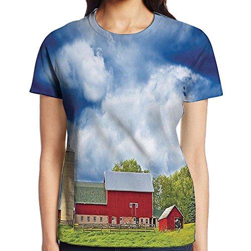 WuLion Landscape Scenery View Warehouse Barn Clear Clouds Fields Women