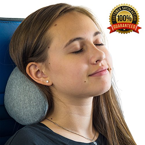 Vestia Ergonomic Travel Pillow :: Portable Small Neck Cushion for Airplane, Car, Train, Bus & More :: Supportive Memory Foam with Cooling Ventilation, Unisex, Gray