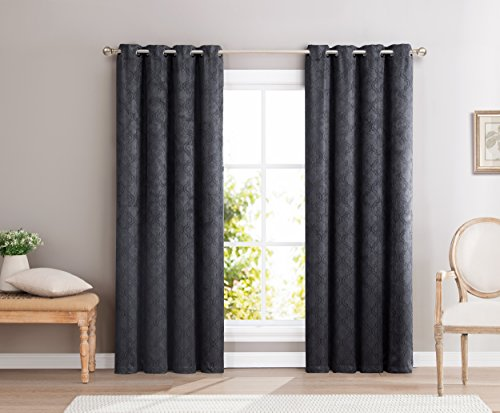 HLC.ME Redmont Lattice Thick Soft Thermal Insulated Energy Efficient Room Darkening Privacy Blackout Grommet Curtain Panels for Bedroom - Light Blocking - Set of 2-54