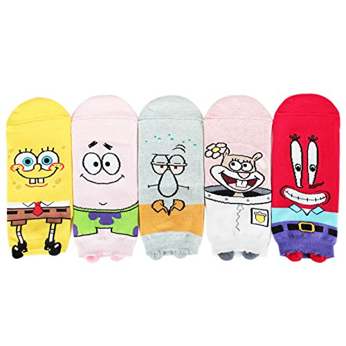 Socksense Animation Character Disney Series Women's Original Socks (Spongebob_5pairs)]()