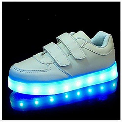 (Present:kleines Handtuch)JUNGLEST® Kinder Jungen M?dchen Bunte LED Leuchtet Sportschuhe Sneakers Athletische Weiß