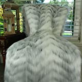 Thomas Collection White Fox Faux Fur Throw Blanket & Bedspread - White Gray Fox Fur Throw - Luxury Fox Faux Fur - Soft Faux Fur Blanket, Handmade in US, 16483