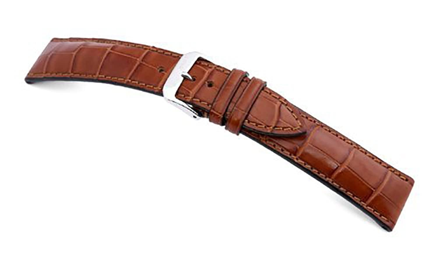 RIOS1931 Uhrenarmband Monarch Echt Alligatorenleder in matt - Fullcut - mit Alligatorenfutter - Cognac - Bandanstoss
