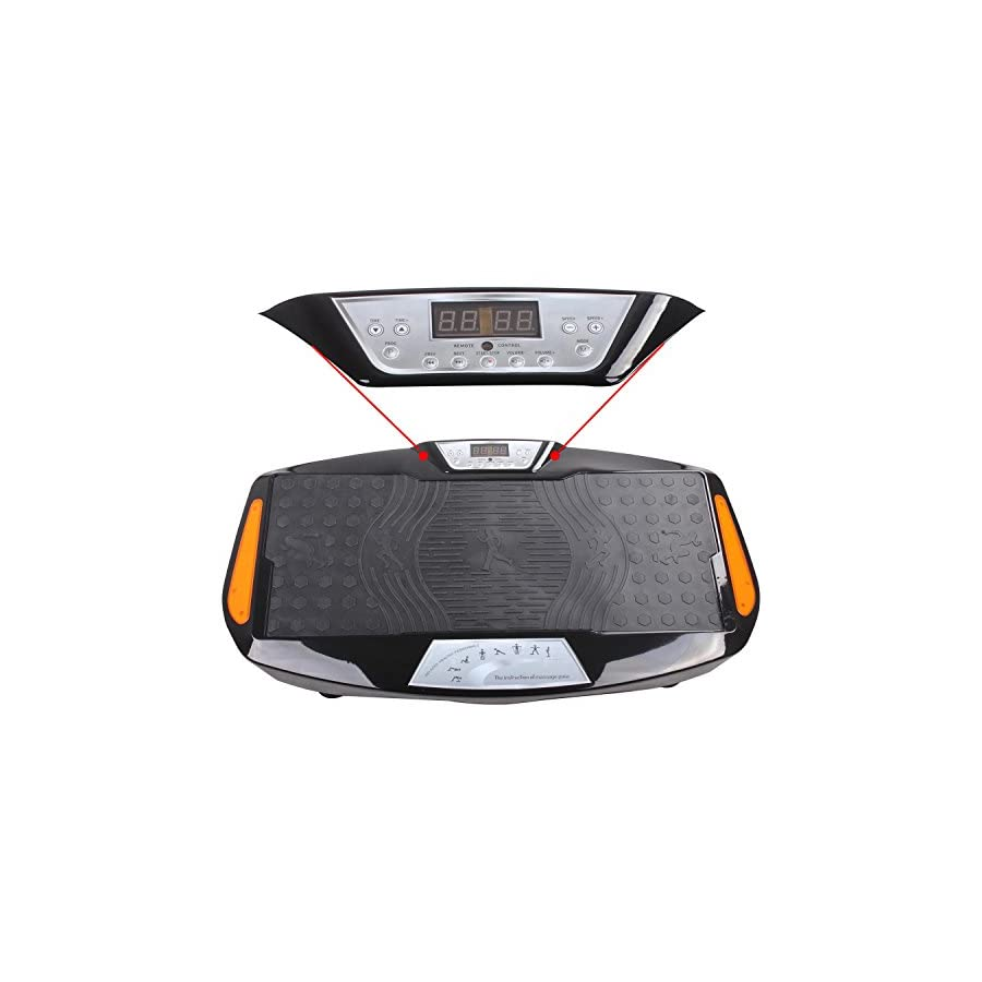 Vibration Platform Machine 3D Fitness Dual Motor Vibration Mini Whole Body Fitness Plate Board with Remote Control & Resistance Bands for Balance Versatile Workouts 360 Degree Shake(1000W+1000W)