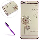 iPhone SE Case 5 Case iPhone 5S Case for Girls EMAXELER Stylish Bling Diamond Slim Case Plating Frame Hard PC Back Cover Protective Case for iPhone 5/5S Dandelion[Pink]