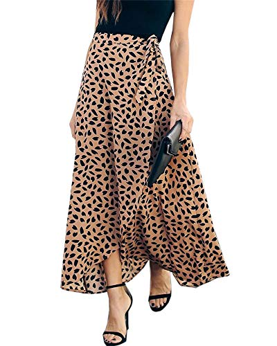 Imysty Womens Leopard Print Long Skirts Drawstring High Waisted Bohemian Maxi Skirt (Small, Y-Coffee)