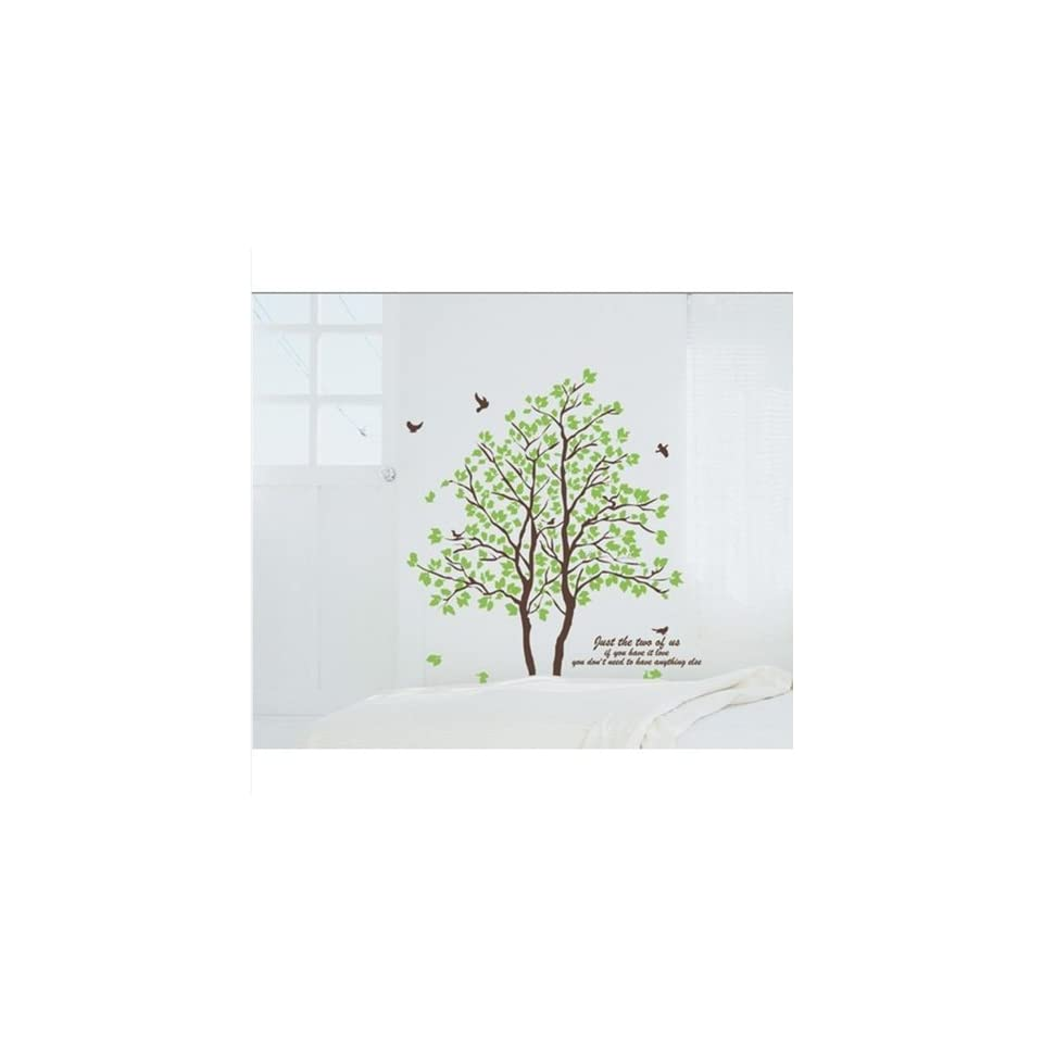 DIY Large Wall Quote Decor Art Decal Sticker Removable Green Tree Leaves Birds