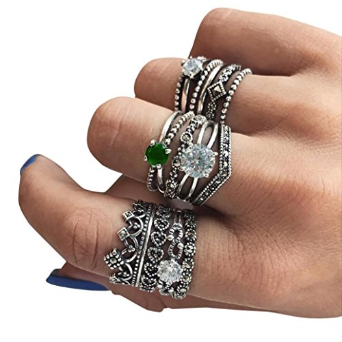 Lethez Women's Rings Set, Bohemian Vintage Silver Crystal Stack Rings Natural Gemstone Opal Diamond Ring (12PC, Adjustable)