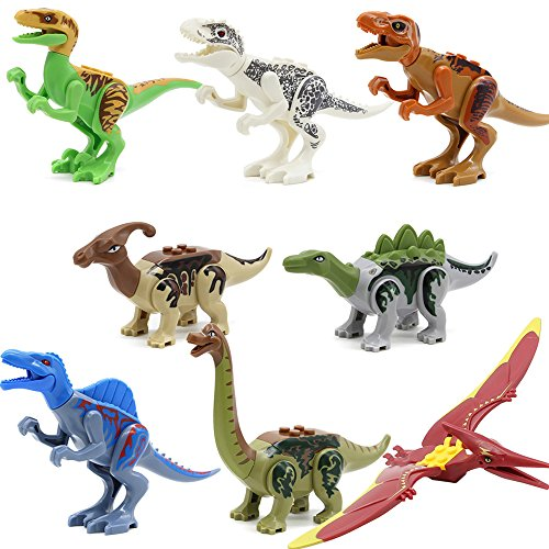 Feleph 8 Styles Jurassic Theme Dinosaur Building Blocks Miniature Toy Plastic Play Toys Small Tyrannosaurus / Pterosaurs Blocks Model Figures Best Gift for Major Bands by Feleph