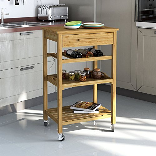 Rolling Bamboo Kitchen Island Storage Bakers Cart Wine Rack W/ Drawer & Shelves (Kitchen Island Bamboo)