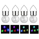 Aveki Crackle Glass Globe Solar Lights Solar Lights 7 Color Changing Garden Hanging Hook Lantern for Outdoor Path Stairs Courtyard Terrace Garden Park Color Changing (4pack)