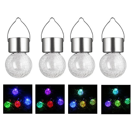 Crackle Glass Globe Solar Lights AVEKI Solar Lights 7 Color Changing Garden Hanging Hook Lantern for Outdoor Path Stairs Courtyard Terrace Garden Park Color Changing (4pack)