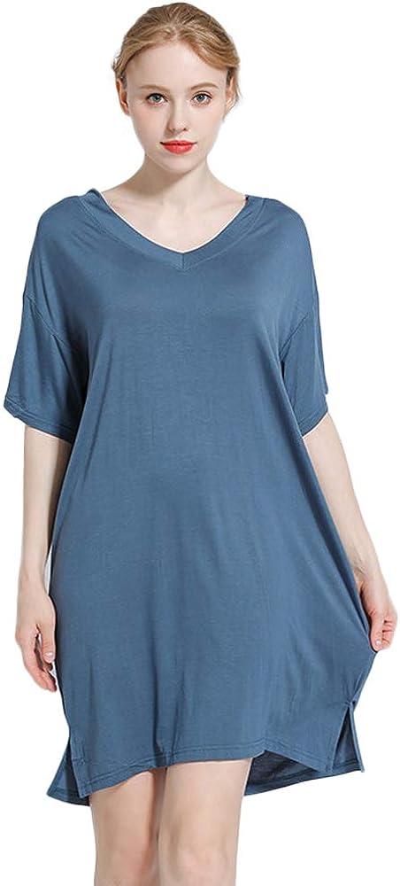 Nanxson Camisón Modal para Mujer Ropa de Dormir de Manga Corta Camisa de Dormir Suelta SQW0012 (L, Azul): Amazon.es: Ropa y accesorios
