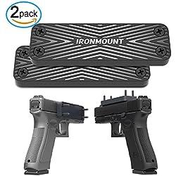 Gun Magnet Mount 2-Pack | 43 Lbs Rated | IronMount Rubber Coated Magnetic Gun Mount & Holster | Concealed Holder for Car, Handgun, Pistol, Shotgun, Rifle