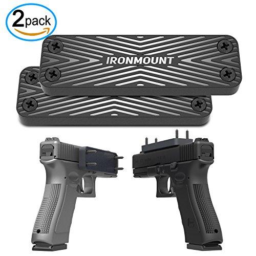Gun Magnet Mount 2-Pack   43 Lbs Rated   IronMount Rubber Coated Magnetic Gun Mount & Holster   Concealed Holder for Car, Handgun, Pistol, Shotgun, Rifle