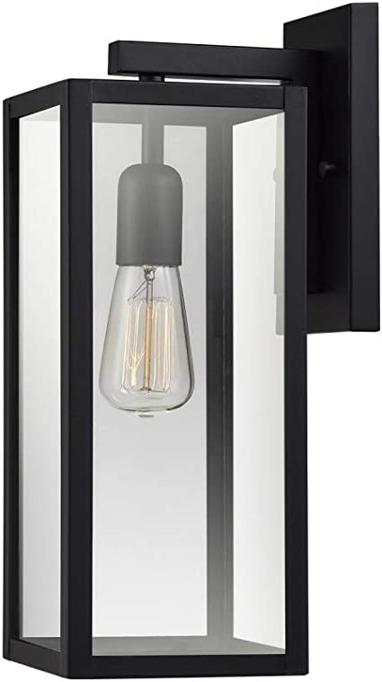 Bowery 1 Light Outdoor Indoor Wall Sconce Matte Black Clear Glass Shade 44176 Amazon Com