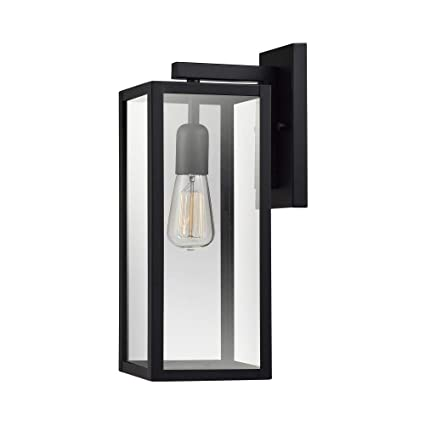 online retailer 1e1d9 9c14f Globe Electric 44176 Bowery 1-Light Outdoor Indoor Wall Sconce, Matte  Black, Clear Glass Shade