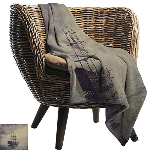 warmfamily Reversible Blanket Nautical Old Pirate Ship in The Sea Historical Legend Cruise Retro Voyage Grunge Style Art Sofa Chair 60