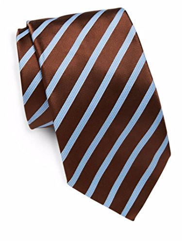 Ike Behar Men's Silk Textured Stripe Tie, OS (Brown) by Ike Behar