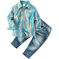 Little Boys' 2 Piece Long Sleeve Shirt and Denim Pants Jeans Set
