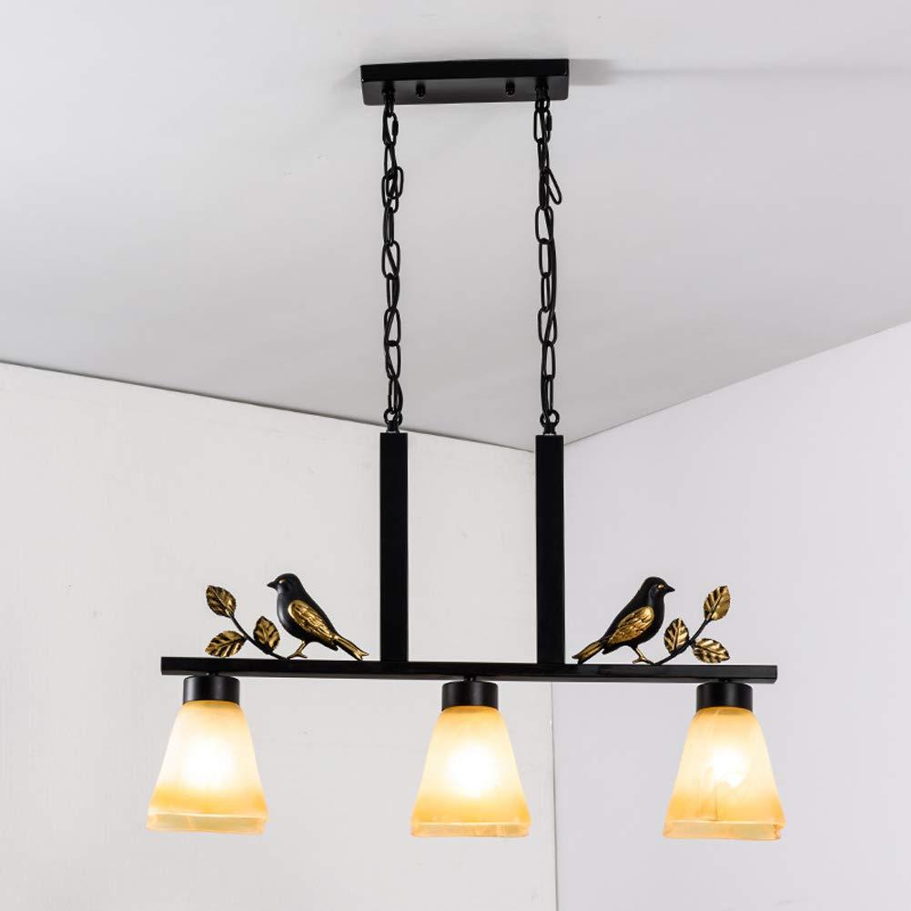 DECORATZ Vintage Wrought Iron Chandelier Ceiling Lamp, LED 3Lights Glass Lampshade E27 Screw Light Modern Simple Living Room Bedroom Lamp Lighting Fixture-B
