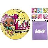 LOL Surprise Doll Bundle includes (1) Confetti Pop Series 3 Wave 1 + (6) Shopkins Stickers + BONUS Action Media Storage Bag!