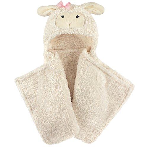 Hudson Baby Plush Blanket with Hood, Girly Lamb