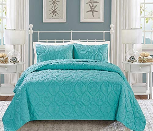 3-Piece Tropical Coast Seashell Beach (California) Cal King Bedspread Turquoise Blue Coverlet Embossed Bed Cover set. Sea Shells, Sea Horse, Starfish etc.