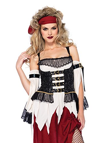 Leg Avenue Women's 3 Piece Buried Treasure Beauty Pirate Costume, Burgundy/Blue, Medium