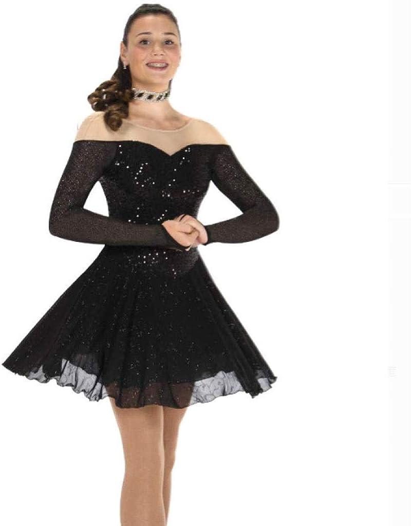 フィギュアスケートドレス、女性の女の子の黒スパンデックスストレッチ糸高弾性スケートウェア手作りファッション長袖アイススケートウィンタースポーツ ブラック Child16