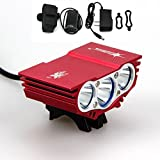 1 Pcs Terrific Popular Style 4 Switch Modes 6000Lm 3x LED Bike Lights Headlight Waterproof Aluminum Color Red with Battery Charger