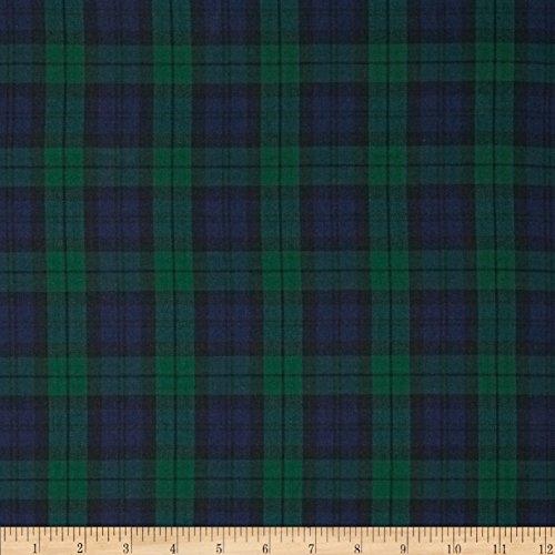 Kaufman House of Wales Plaid Nightfall Fabric By The - Plaid Green Fabric