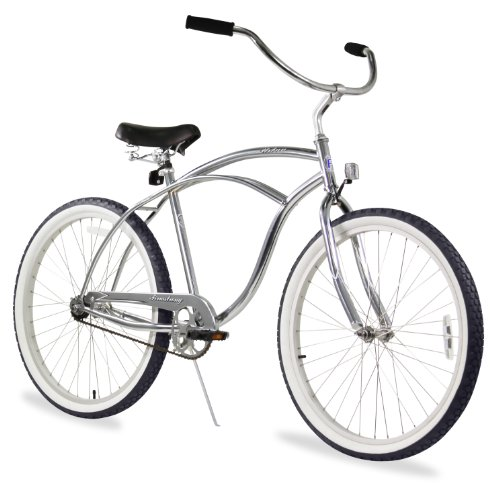 Silver Cruiser Bike - Firmstrong Urban Man Alloy Single Speed Beach Cruiser Bicycle, 26-Inch, Silver