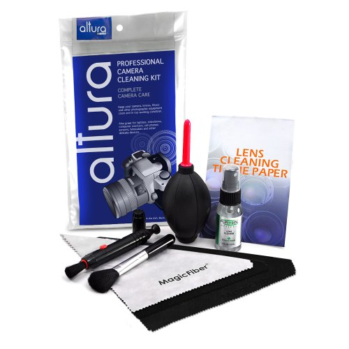 Professional Cleaning Set for DSLR Cameras (Canon, Nikon, Pentax, Sony) - Includes: Purosol All Natural Lens Cleaner 1 oz. Bottle + Lens Cleaning Pen + Lens Brush + Air Blower Cleaner + 50 Sheets Lens Tissue Paper + 3 Pack Oversize and Original Premium MagicFiber Microfibers Cleaning Cloths