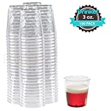 DRINKET Plastic Shot Glasses 3 oz Cups Disposable Mini Cups Hard Plastic Cups Round Clear For Champagne Whiskey Scotch Wine Beer Cocktail Dessert Cups Jello Shot Party Tumblers 100 Count Bulk Pack