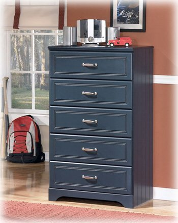 Ashley Furniture Signature Design - Lulu Chest of Drawers - 5 Drawers - Casual Styling with Crisp Finish - Blue