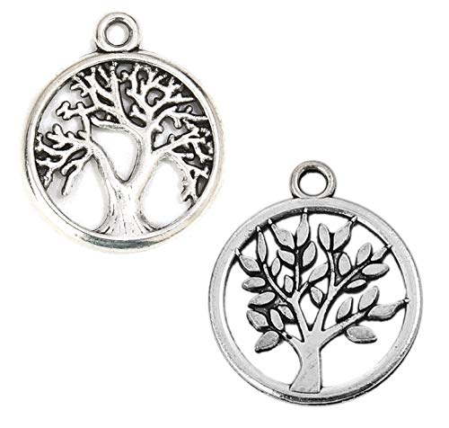 (Tree of Life Charm Pendants, 96 Pack (48 of Each), 5/8 Inch Silver Tone)