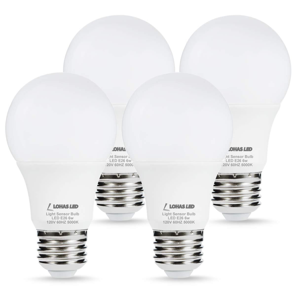 LOHAS Sensor Light Dusk till Dawn LED Bulb, Light Sensor Porch Light Bulbs, A19 6W Daylight 5000K E26 LED Security Bulb(Auto on/off), Smart Indoor/Outdoor Lamp Lighting for Garage, Hallway(4 Pack)