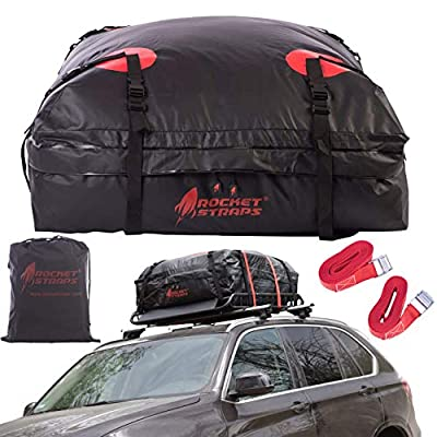 Rocket Straps| Car Top Carrier | Roof Bag Storage | Use Car Carriers Rooftop Luggage Carrier with Roof Racks & Cross Bars | 100% Waterproof PVC 15 cuft RoofBag | Inc Carrier Bag & (2) Lashing Straps