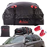 Rocket Straps| Car Roof Bag & Rooftop Cargo Carrier | 100% Waterproof PVC 15 cuft RoofBag | Use with Luggage Carrier, Roof Racks, Cross Bars | Inc Carrier Bag & (2) Lashing Straps