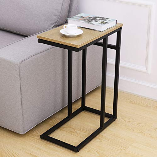 Homemaxs Sofa Side End Table C Table for Small Space, Snack Table with Wood Finish and Steel Construction for Coffee, Snack, ()