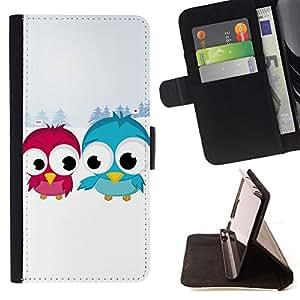 BullDog Case - FOR/Sony Xperia Z1 L39 / - / blue red bird art snow couple love romantic /- Monedero de cuero de la PU Llevar cubierta de la caja con el ID Credit Card Slots Flip funda de cuer